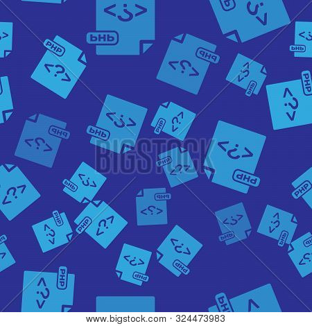 Blue Php File Document. Download Php Button Icon Isolated Seamless Pattern On Blue Background. Php F