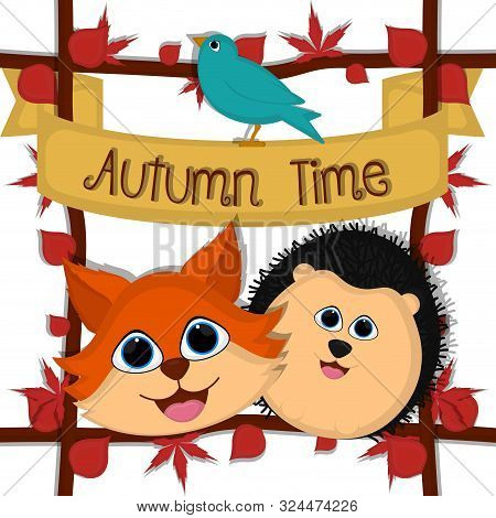 Autumn Time Card With A Cute Fox And Porcupine - Vector
