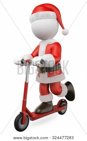 3d White People Illustration. Santa Claus Riding On A Rental Scooter. Isolated White Background.