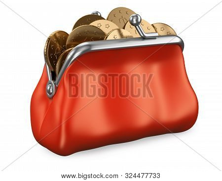 3d Purse Full Of Money Illustration. Realistic Render