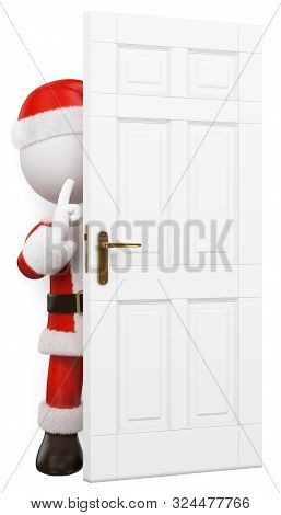 3d White People Illustration. Santa Claus Hidden Behind A Door Shutting. Isolated White Background.