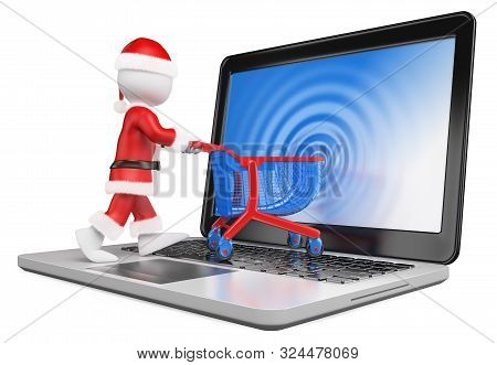 3d White People Illustration. Santa Claus Entering The Screen Of A Laptop. Ecommerce. Isolated White