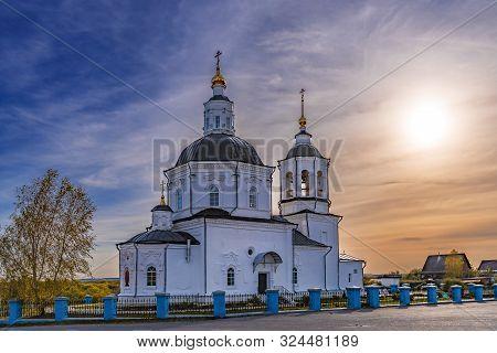 Tomsk Russia - September 22, 2019. Spassky Church Is A Landmark Of The Old Settlement Of Spasskoye I