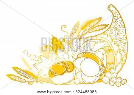Vector Outline Golden Cornucopia Or Horn Of Plenty Full Of Pumpkin, Berry, Wheat And Maple Leaf Isol