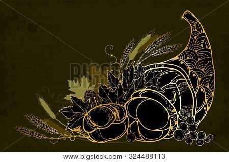Vector Outline Gold Cornucopia Or Horn Of Plenty Full Of Pumpkin, Berry, Wheat And Maple Leaf On The