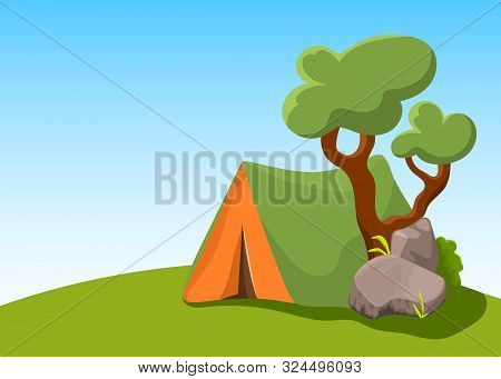 Camp Tent With Tree And Stone. Summer Landscape Vector Illustration With Place For Text. Campsite Pr
