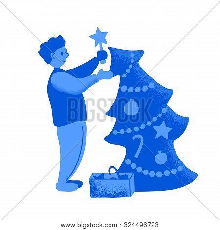 Man Decorates Christmas Tree. Textured Vector Illustration On White Background. Duotone Christmas Sc