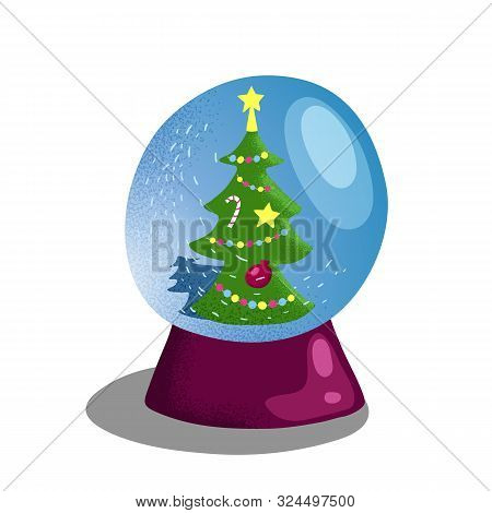 Snow Globe With Christmas Tree. Winter Holiday Decor Vector Illustration On White Background. Christ