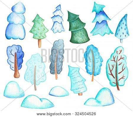Winter Tree In Snow Watercolor Illustration On White Background. Christmas Or New Year Handdrawn Cli