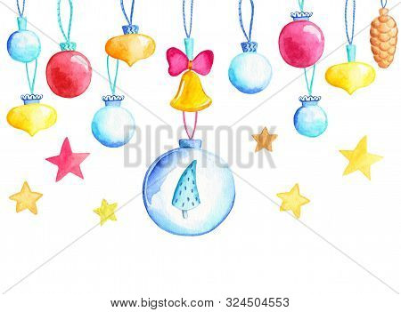 Christmas Tree Balls With Firtree And Stars. Firtree Ball Watercolor Illustration. Christmas Bauble