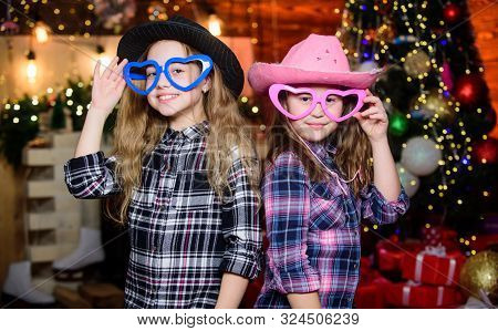 Girls Sisters Carnival Hats Costumes New Year Party. Kids Friends Celebrate Winter Holiday. Family C