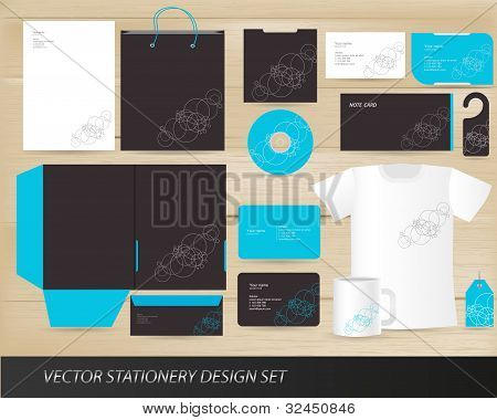 Vector stationery design set isolated on background poster