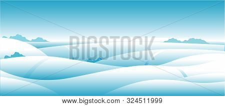Winter Nature, Landscape Gradient. Field, Snowy White Hills, Snowdrifts, Sky With Snowflakes, Meadow