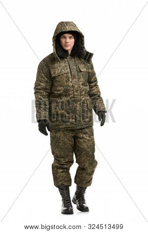Man in khaki working clothes isolated view poster