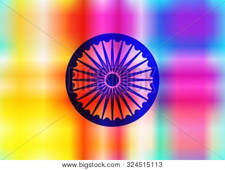Abstract Background Of Indian Colors And Symbol Of The Wheel Of Dharma, Ashoka Wheel Colorful Elegan