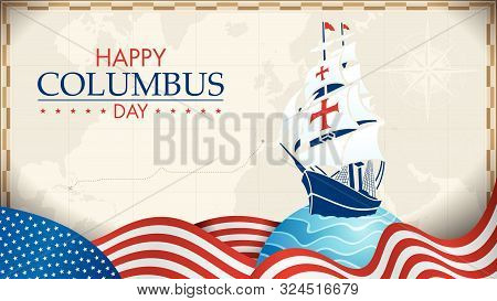 Happy Columbus Day Greeting Card. Blue Caravel On Circle With Blue Waves And Usa Flags In The Form O