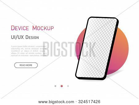 Smartphone Mockup 3d Isometric With Empty Screen. Mobile Phone With Isometric Perspective Angle. Fla