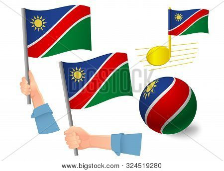 Namibia Flag Icon Set. National Flag Of Namibia Vector Illustration