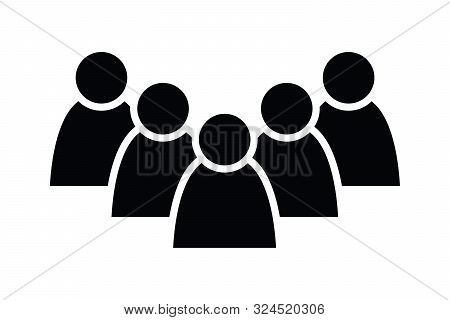 5 People Icon. Group Of Persons. Simplified Human Pictogram. Modern Simple Flat Vector Icon