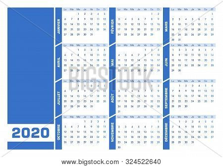Blue 2020 French Calendar. Printable Landscape Version