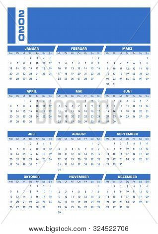 Blue 2020 German Calendar. Printable Portrait Version