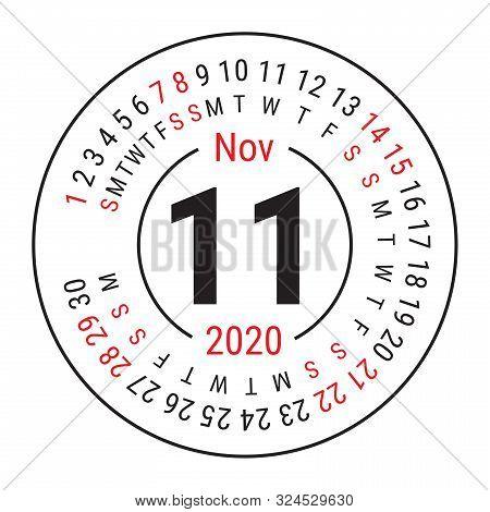 November 2020. Vector English сalendar. Round Calender. Week Starts On Sunday. Design Template. Circ