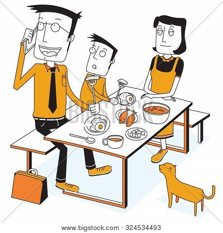 Illustration Of Breakfast With A Busy Father