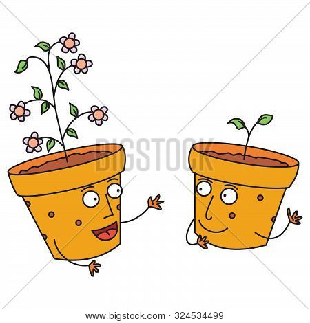 Illustration Of Some Talking Happy Flower Pots