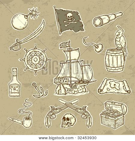 Beautifull llustration of Pirates set  Icons in grunge style poster