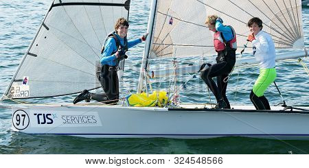Lake Macquarie, Australia - April 18, 2013: School Children Sailing In The Australian High School Ch