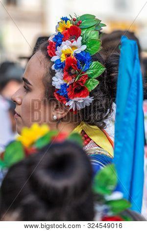 Timisoara, Romania - September 22, 2019: Portrait And Detail Of The Ukrainian Folk Costume From Bana