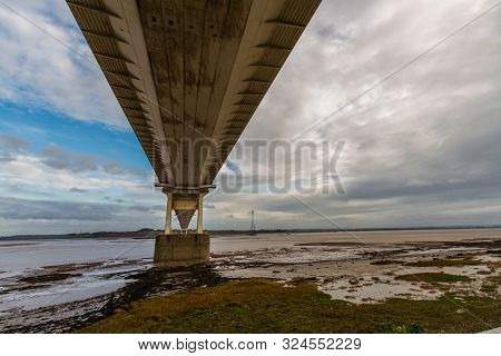 Beneath The Old Severn Crossing Suspension Bridge. Underside Of Bridge, Landscape, Estuary, Copy Spa