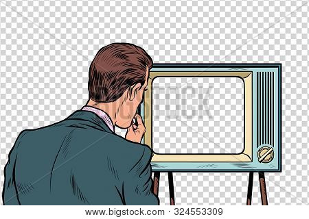 Male Viewer Watching Tv. Television Propaganda, Film And News. Pop Art Retro Vector Illustration Dra