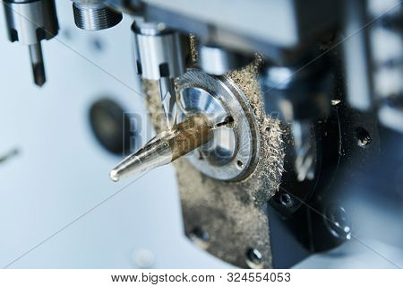 Milling metalworking. CNC metal machining by vertical mill. Coolant and lubrication poster