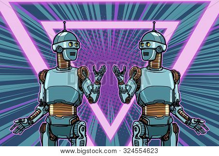 Robot Cyber Monday Advertising Poster. Pop Art Retro Vector Illustration Drawing Vintage Kitsch