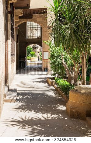 Cairo, Egypt- May 5 2015: Stone Bricks Passage Leading To The Courtyard Of Historic Beit El Sehemy H
