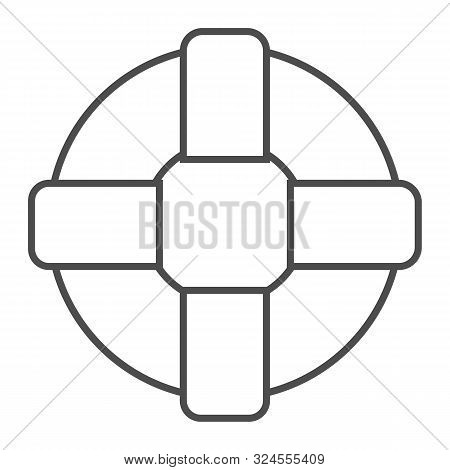 Lifebuoy Thin Line Icon. Lifesaver Vector Illustration Isolated On White. Life Ring Outline Style De