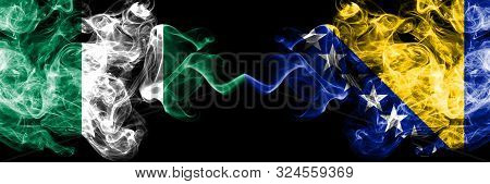 Nigeria Vs Bosnia And Herzegovina, Bosnian Abstract Smoky Mystic Flags Placed Side By Side. Thick Co