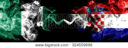 Nigeria Vs Croatia, Croatian Abstract Smoky Mystic Flags Placed Side By Side. Thick Colored Silky Sm