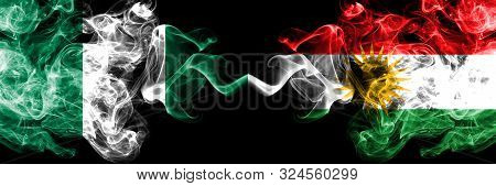 Nigeria Vs Kurdistan, Kurdish Abstract Smoky Mystic Flags Placed Side By Side. Thick Colored Silky S