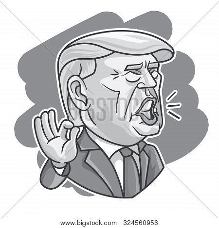 September 2019. President Donald Trump Caricature Giving Speech With His Signature Hand Sign In Gray