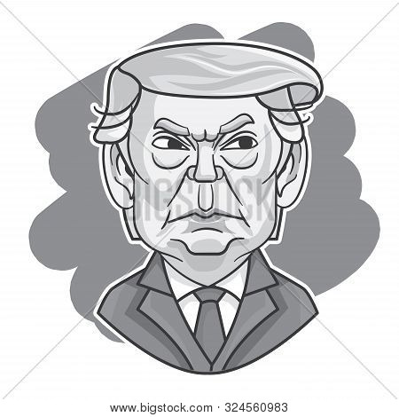September 2019. President Of Usa - Donald Trump With Angry Face Expression. Cartoon President Donald