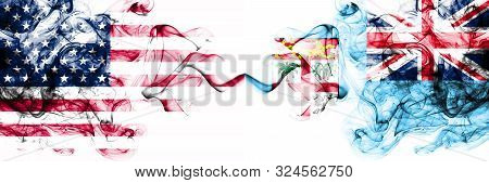 United States Of America Vs Fiji Smoky Mystic Flags Placed Side By Side. Thick Colored Silky Abstrac