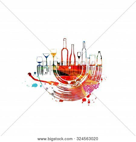 Colorful Glasses And Bottles With Vinyl Record Disc Isolated Vector Illustration. Party Flyer, Wine