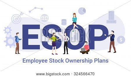 esop employee stock ownership plans concept with big word or text and team people with modern flat style - vector illustration poster