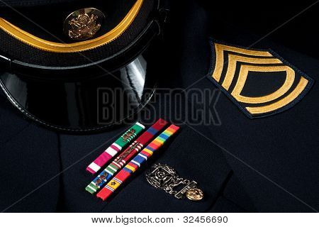 Military Hat And Dress Uniform With Decorations