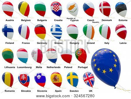 A Set Of Isolated 3d Images Of Balloons With Images Of Flags Of Eu Member States Are Presented In Al