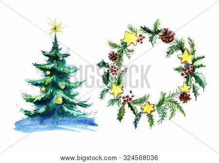 Christmas Tree And Christmas Wreath. Fir Branches, Cones, Stars, Holly Berries. Decorative Element P