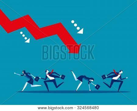 Business Team And Failure. Concept Business Vector. Risk, Crisis, Problem.