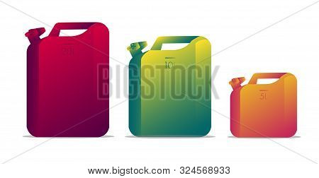 Set Of Blank Oil Jerrycan Canister Gallon, Gradient Modern Illustration, Isolated Objects